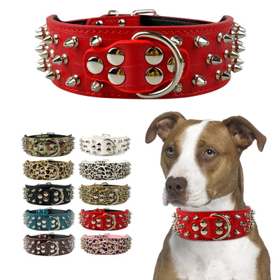 Pet Dog Collar Leather Collars for Pitbull Spiked Studded Dogs Collars for Medium Large