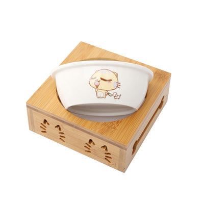pawstrip Pet Double Dog Bowl Bamboo Stainless Steel Ceramic Bowl Dog Food Bowl Feeding