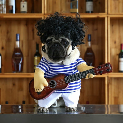 Pet-Guitar-Player Dog-Costume Halloween New-Year Funny French Dog Small Cosplay for Cats-3