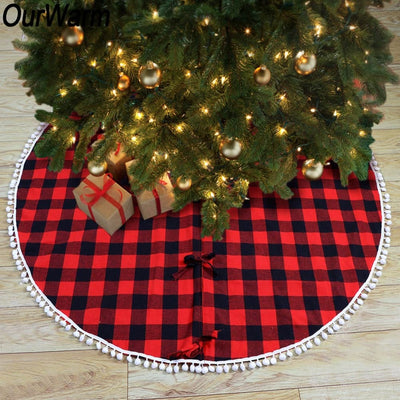 Ourwarm Skirt Christmas-Tree-Skirt Buffalo Plaid Black Red And 122cm for Pom-Pom-Balls