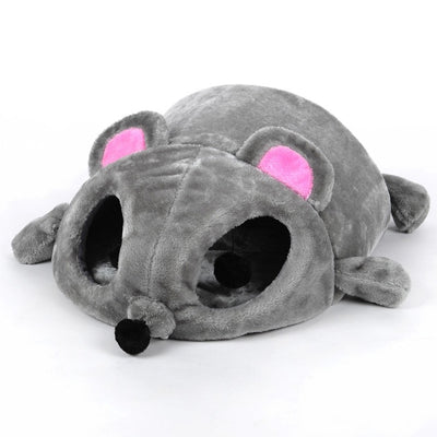 HOOPET Grey Mouse Shape Small Cats Dogs Cave Bed Removable Cushion