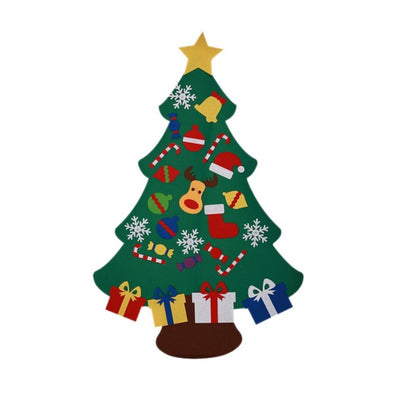 Power Felt Christmas Tree with Lovely Ornaments Door Wall Hanging Decoration New Year