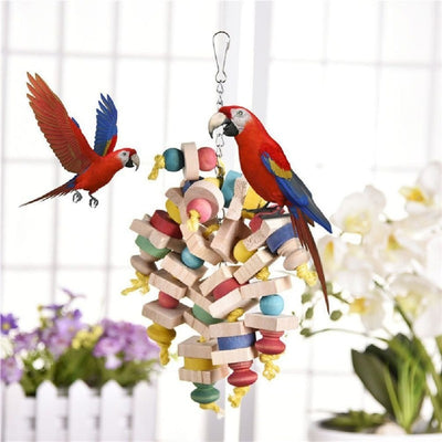 Arrival Wood Colorful Parrot Toys Chew Toy Pet Bird Toys Hanging Swing Cage Toys