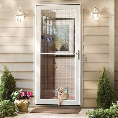 Pet-Screen Safe Door Doggie-Flap Dog-Footprint-Pattern New