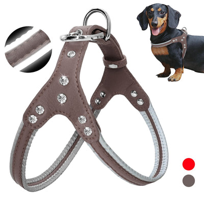 Dog Harness Leather Reflective Small Medium Dogs Vest Harnesses Rhinestone Pug Harness