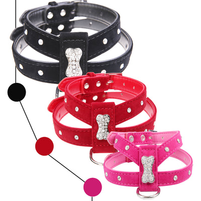 Harness Chihuahua Teacup-Care Dog-Collar Velvet Rhinestone-Bone Pink Black Bling Pet-Puppy