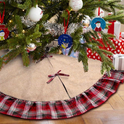 Ourwarm Skirt Christmas-Decorations Ruffle-Edge Xmas-Tree Plaid for Home New-Year Gifts