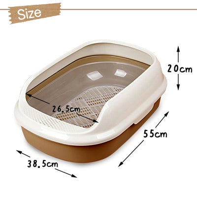 PAWZRoad Cat Box Durable Training Kit Litter Bedpans Big Space Toilet