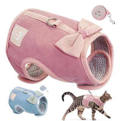 PET ARTIST Cat Vest Cute Bowknot Mesh Harness Leash Set