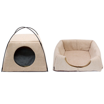 HILOU PET House Leaves Pattern Creative Dual-use Cat Bed Machine