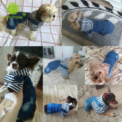 Jumpsuit Classic Autumn Dogs Winter Denim Warm Plaid for Small Comfortable Casual Costume