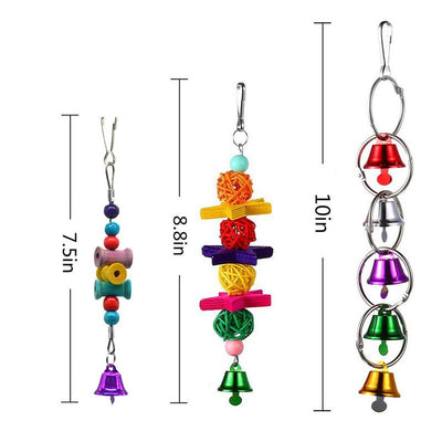 GoldCister 6Pcs/set Bell Pet Bird Cage Hammock Swing