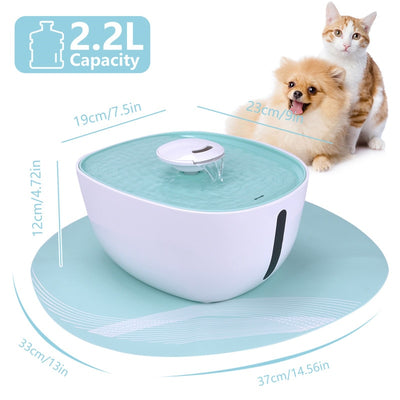 DEWEL Cat Fountain with Night Lamp 2.2L Automatic Pet Feeder