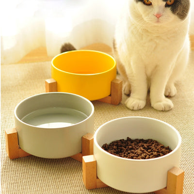 Pet-Supplies Bowl Dog Ceramic Easy-To-Clean Three-Color Small Dog-Rice Cutlery Wood-Frame