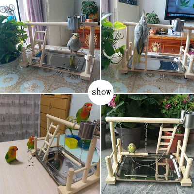 Toys Ladder Playpen Gym-Stand Parrots Lovebirds Perch Wood Conure Exercise