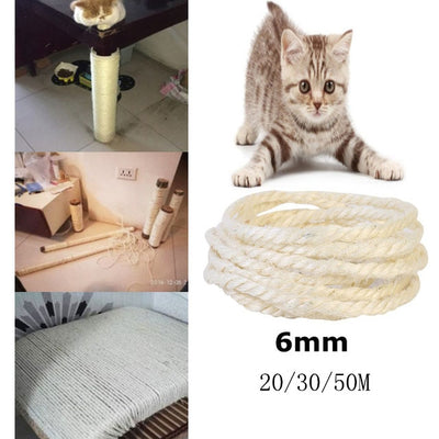 6mm Sisal rope for cats scratching post toys making DIY desk foot stool chair legs binding