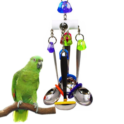 Parrot Cage Bird-Toys Cockatiel-Parakeet African Grey Bell Spoon Swing Hanging Climb