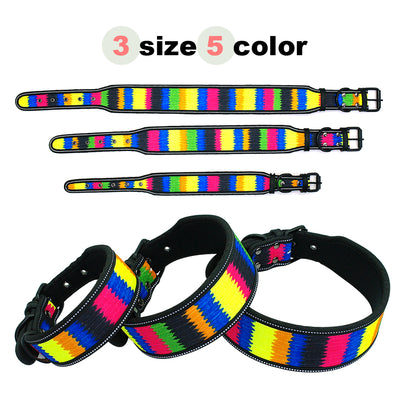 Reflective Nylon Dog Collar Adjustable Pet Collars For Medium Large Dogs Pitbull German Shepherd