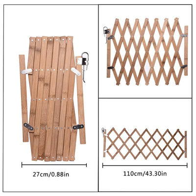 Safety-Gate Fence Barrier Wooden Door Bamboo Folding Stretchable Puppy Swing Pet-Dog Simple