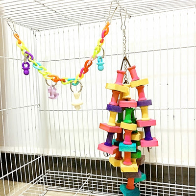 Toys Ladder Macaw Parrot Chewing-Swing-Toy Building-Blocks Wood Rainbow Small Large