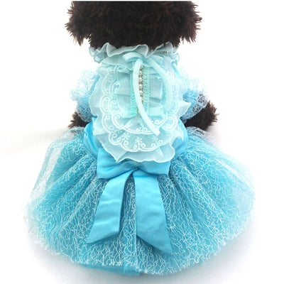 Skirt Dresses Tutu Puppy Princess Party-Apparel Pet-Dog Lace Bow Cat Big 5-Sizes 4-Colours