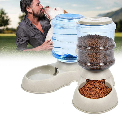 3.75L Dog Cat Large Automatic Feeder Drinker Food Water Dispenser Pet Bowl Dish