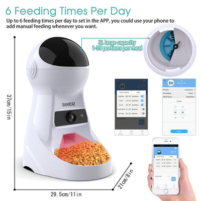 Remote-Control Pet-Feeder Iseebiz Smart Automatic Dogs Wifi Puppy Food with Video-Monitor