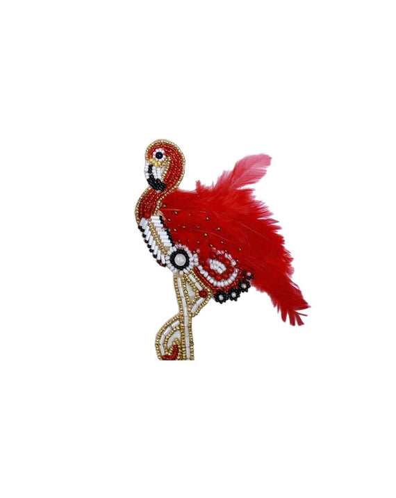 Handmade embroidery patch Flamingo Feather Bird-Red