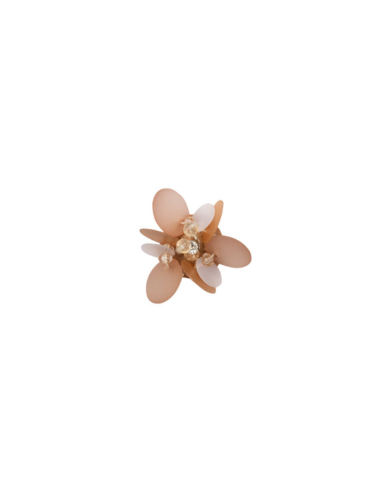 3D flower patch in shining sequin with centre in Rhinestone -Beige