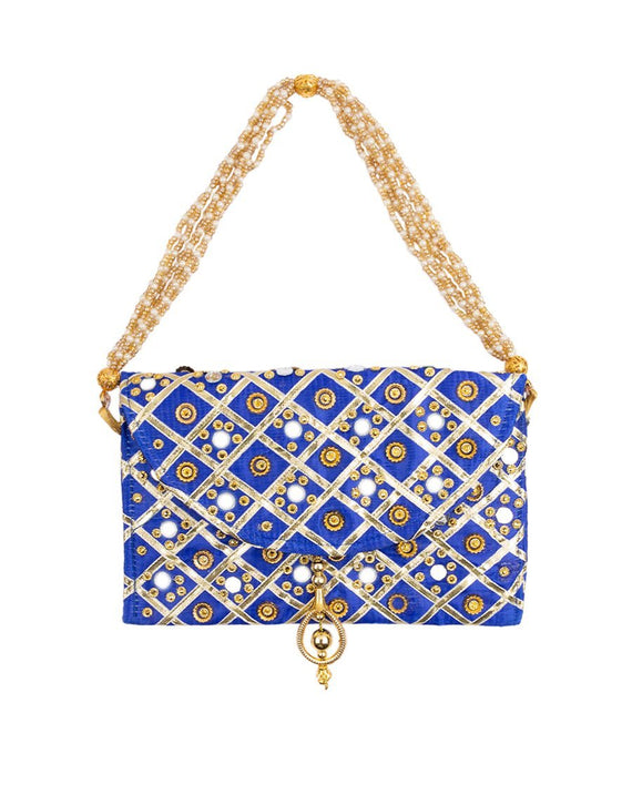 Handmade Mirror and Gota Work Envelope Purses-Blue