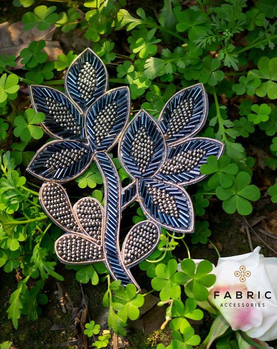 Leaf Cut daana Patch-Blue&Grey
