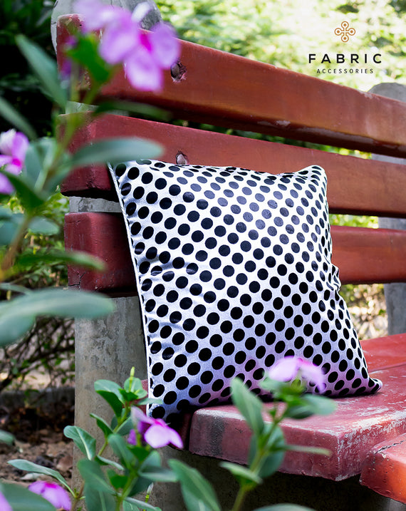 Velvet Polka White on Black Cushion Cover