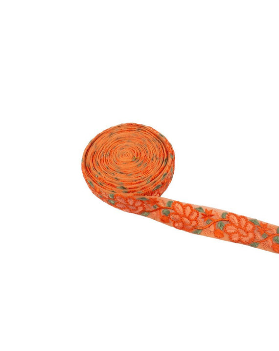 Net based lace in floral thread embroidery - ORANGE