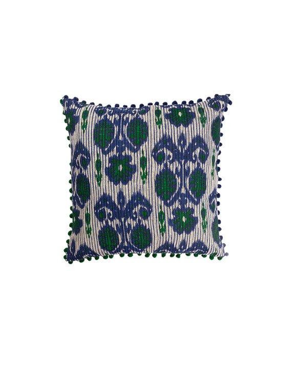 Jute Pom Pom Cushion Cover