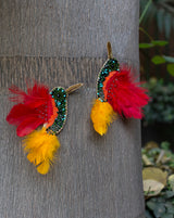 Embellished Bird Patch with feathers-Red&Yellow