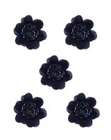 3D flower patch with bugle bead centre - NAVY BLUE