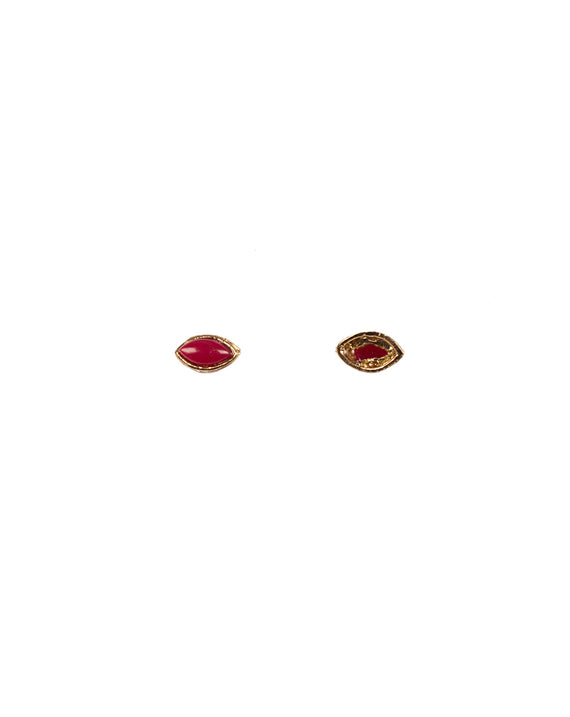Metal kundan stone for embroidery, crafts and jewellery making-Oval-Dark Pink