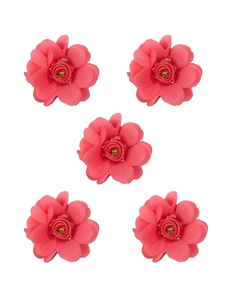 3D flower patch with Rose centre and Rhinestone-PINK