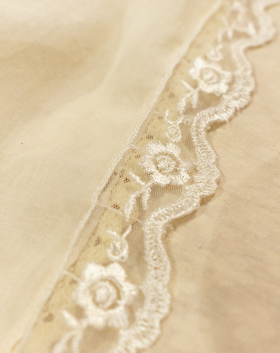 Dyeable scallop cotton lace on net base