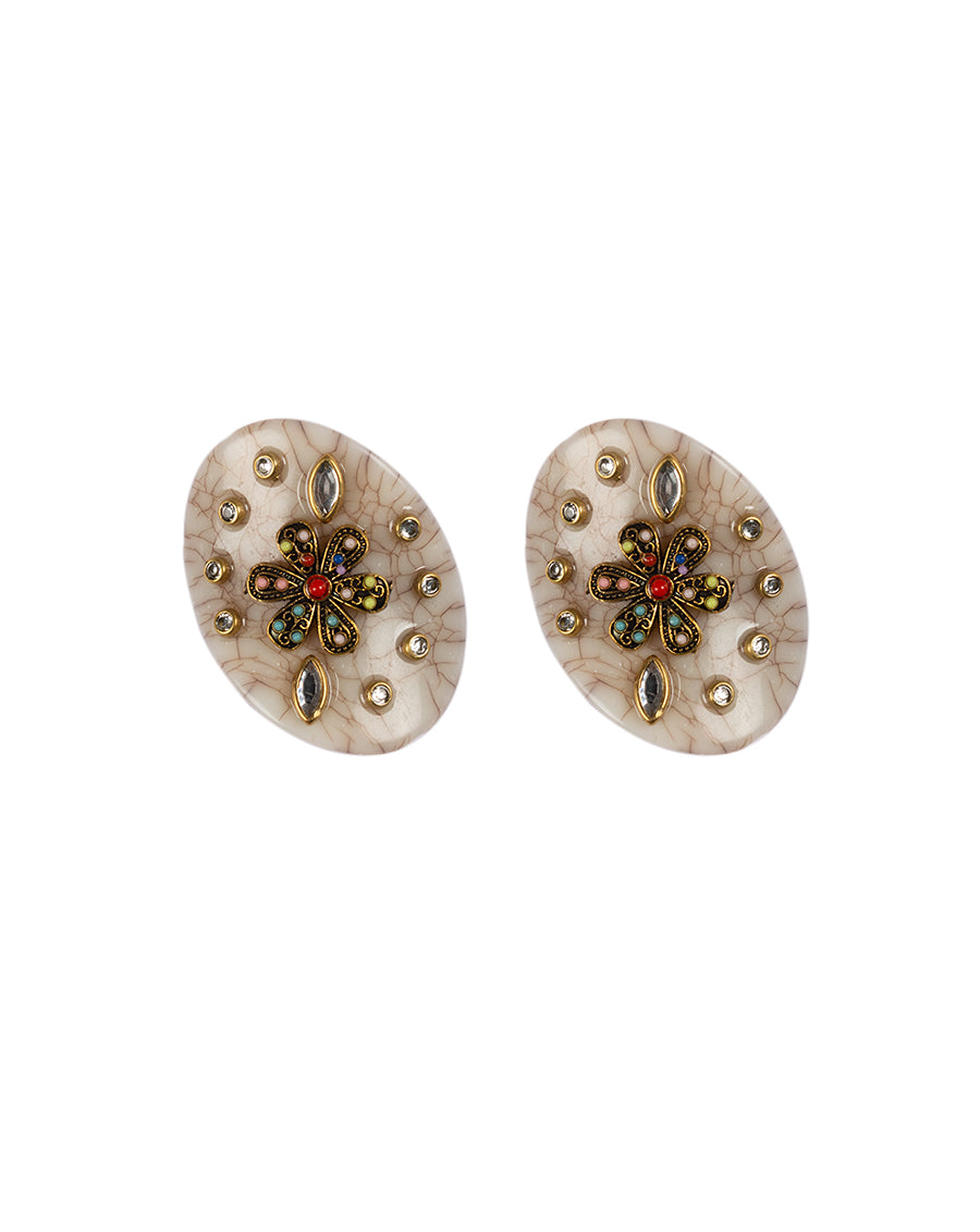 Textured Off-White Designer metal embellished button