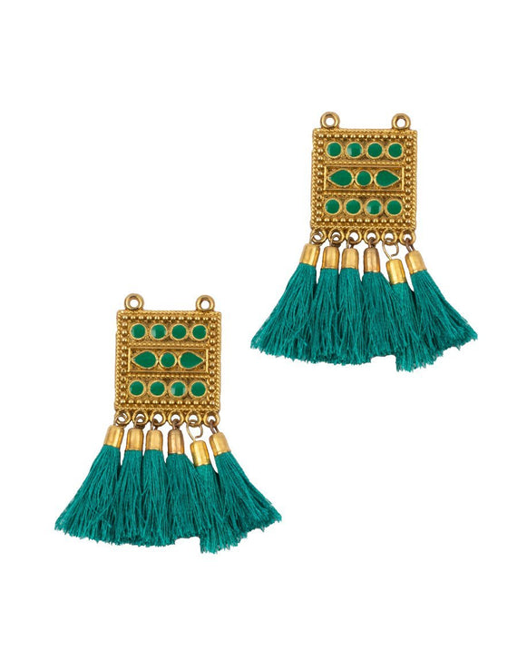 Beads and thread fringing Tassel / Latkans - SEA GREEN