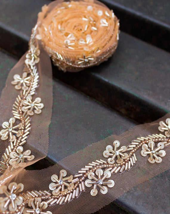 Handwork Bugle Bead and Sequin Lace Border-Rose Gold