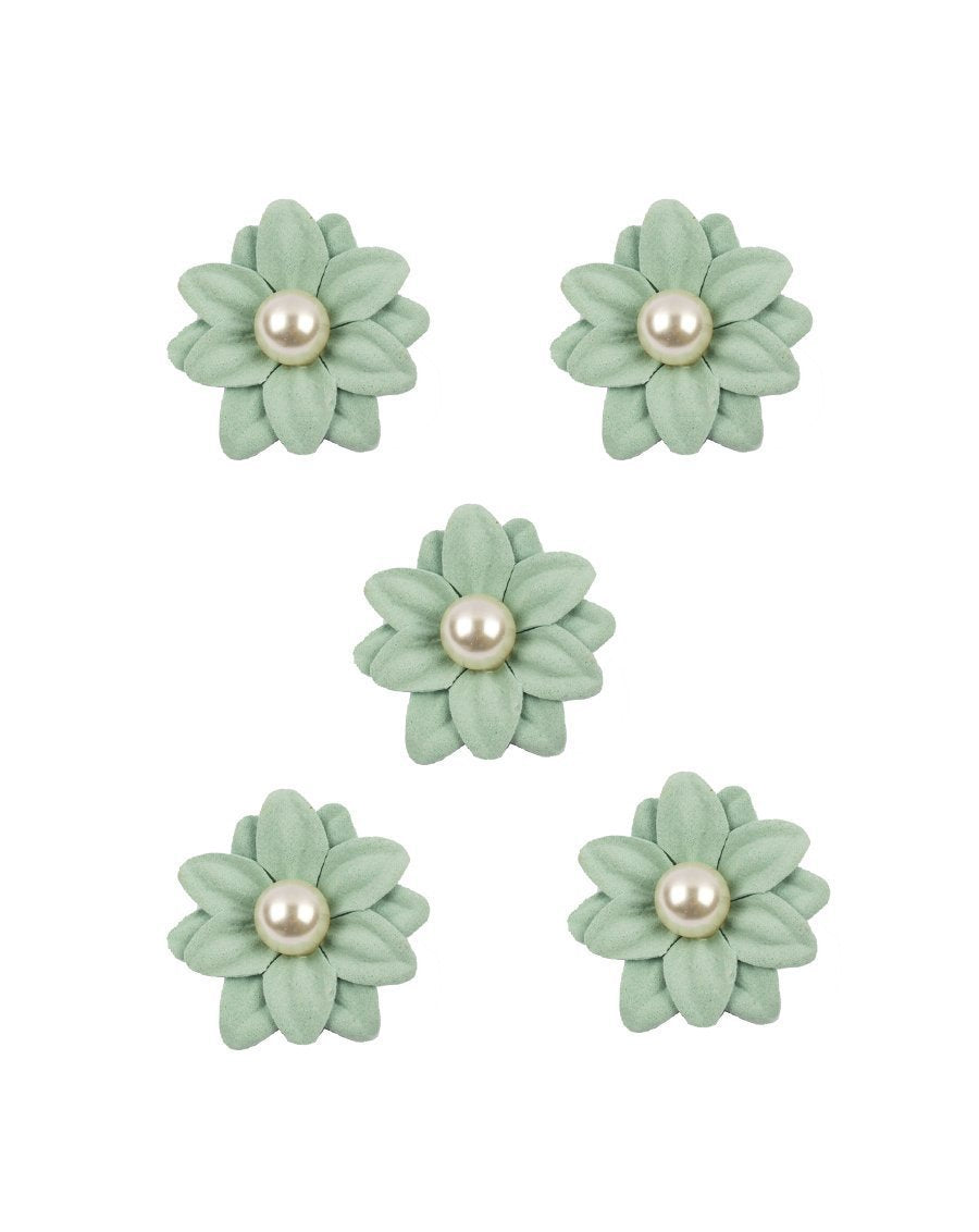 3D flower patch with Pearl Stone MINT GREEN