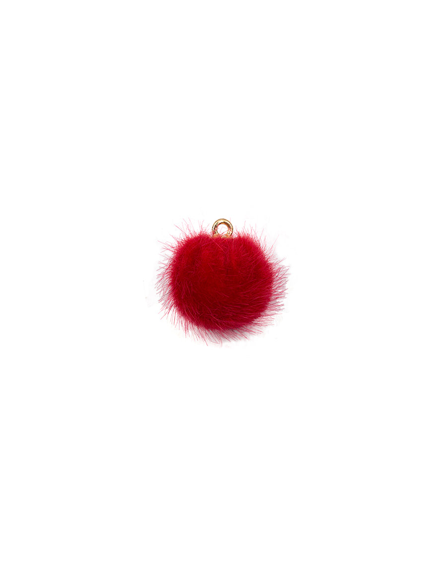 Fur Fabric Ball Button-Red