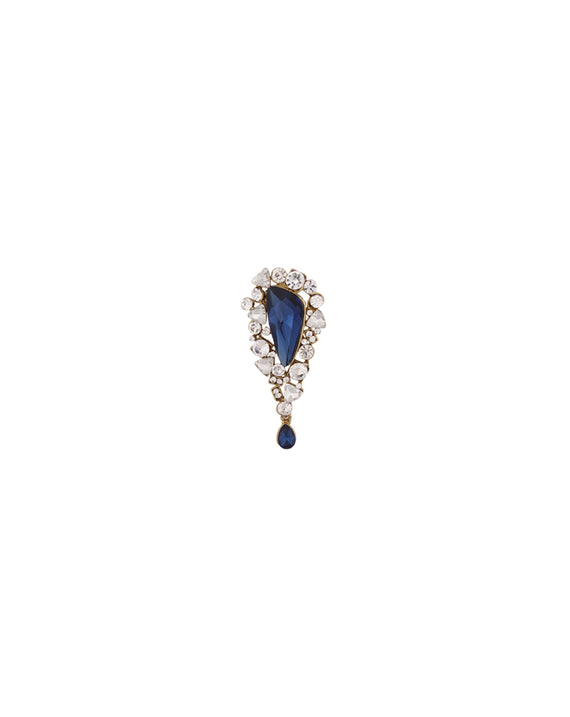 Metal Rhinestone Dew Drop Brooch-Blue