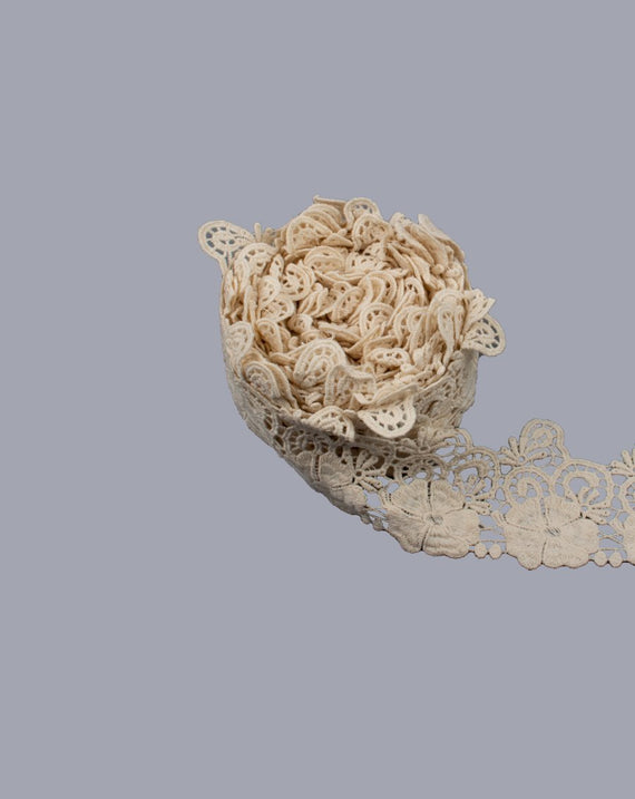 Dyeable cotton floral lace