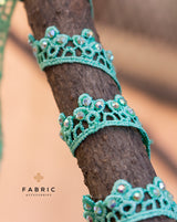 Cotton Lace with stone work Lace Border-Dark Green