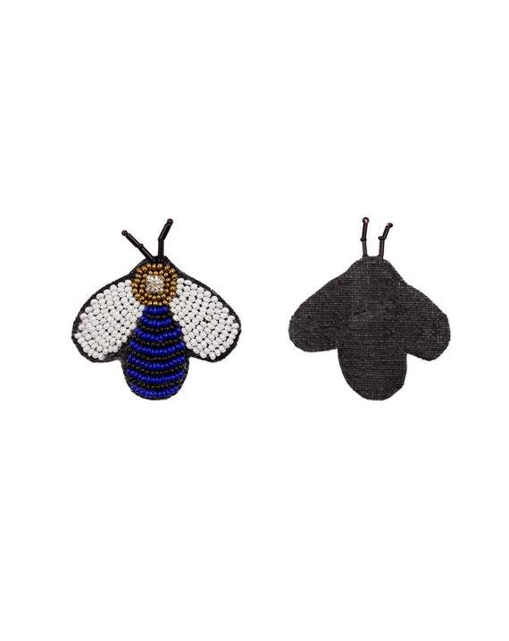Handmade Bee Patch-Dark Blue