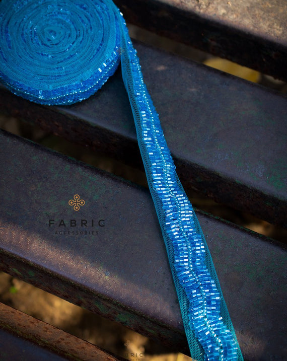 Handmade Scallop Bugle Bead Lace Border-Blue