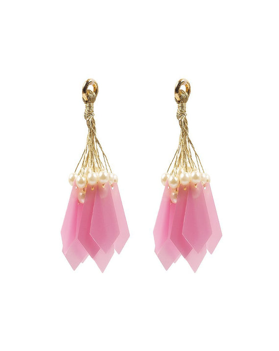 Pearl and Pentagon Tassel / Latkans-LIGHT PINK